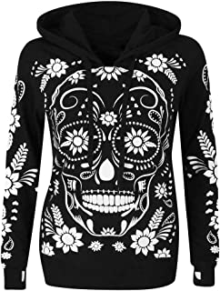 Outdoor Hoodie Women's Long Sleeve Sweatshirt Skull Print Hooded Pullover Sweater Hat Sweater Loose Halloween Tops