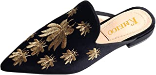 Divanne Loafers for Women, Womens Embroidery Mule Shoes Velvet Backless Slip On Loafers Pointed Toe Flat Mule Slides