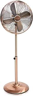 Navaris Ventilador de pie de Metal - Altura Ajustable con Caja de 40CM - Oscilante e inclinable - con 3 velocidades y Elegante Acabado Retro en Cobre