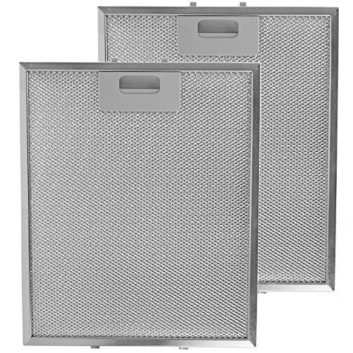 SPARES2GO Malla Metálica Filtro para Whirlpool Campana Extractora / Cocina Extractor Ventilación (Pack de 2 Filtros, Plata, 300 x 250 mm)