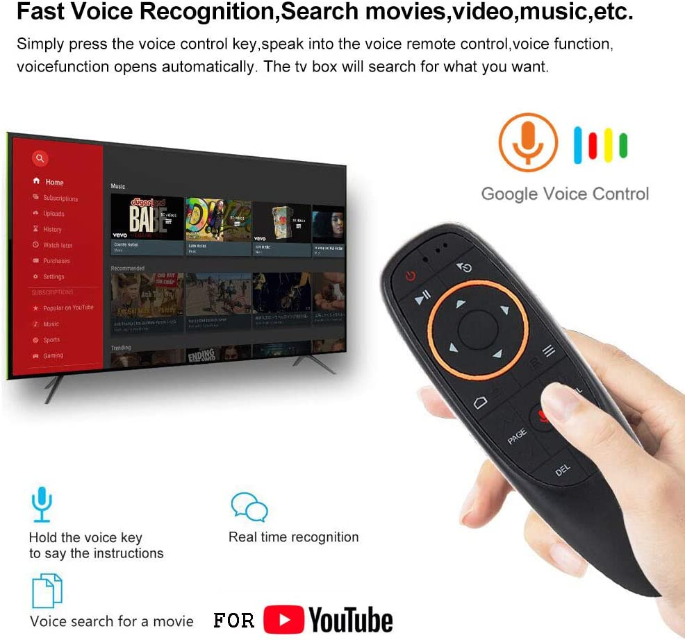 ACHICOO G10 Voice Remote Control 2.4G Wireless Air Mouse Microphone Gyroscope IR Learning for and-roid TV Box T9 H96 Max X96 Mini with Gyro Electronic Phone Computer Products for Travel//Work