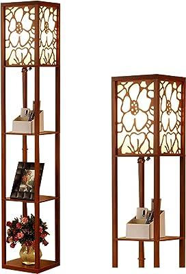 Éclairage d'intérieur 1,6 m Lampadaire en bois avec étagères pour chambre à coucher, salon (sans ampoule) (Noyer)