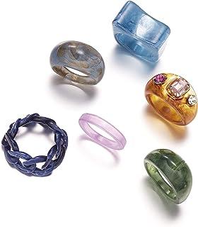 Vintage Resin Acrylic Diamond Rings Trendy Plastic Finger Ring Set Colorful Gem Rings Jewelry Pack For Women Girls