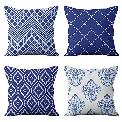 Funda de Almohada Lino de algodón Decorativa Azul Simplemente Elegante, Funda de Cojín 45x45cm con Cremallera Invisible, Juego de 4 Funda de Cojines para Sala de Estar Sofás ,Oficina ,Coche