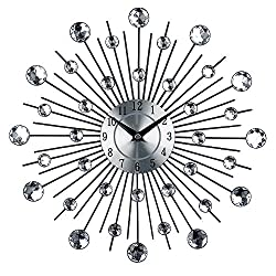 Timelike Crystal Wall Clock - Celebration Decorative Metal Wall Clock (13 Inch, Linear Radiation)