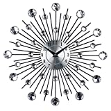 Timelike Crystal Wall Clock - Celebration Decorative Metal Wall Clock (Silver)