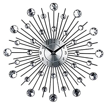 Timelike 3D Crystal Wall Clock - Celebration Decorative Metal Wall Clock Sparkling Bling Diamond-Studded Silver Wall Clock Wall Decor for Kitchen Living Room Bedroom