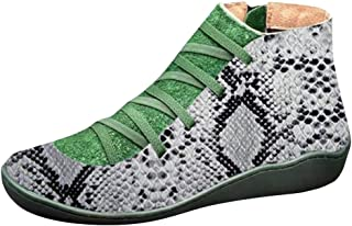 OldloverFlats Classic Ankle Boots Women's Arch Support Ankle Boots Comfy Flat Heel Waterproof Leopard Walking Booties