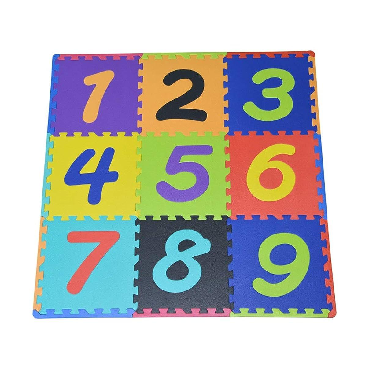 クルー取り戻す抜本的な9ピース泡遊びマット大サイズ連動赤ちゃん泡マット用赤ちゃん遊ぶソフトナンバーパズルプレイマットジグソーパズル(0-9)30×30×1.4センチ DITAN (Color : A)