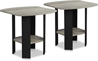 Furinno 2-11180GYW End Table, 2-Pack, French Oak Grey/Black