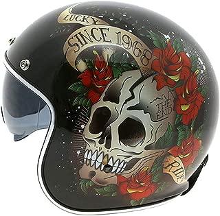 Lyanh Harley Helmet Motorcycle Retro Half Helmet 3/4 Open Face Helmet Four Seasons Universal + Goggles DOT Certification,XL