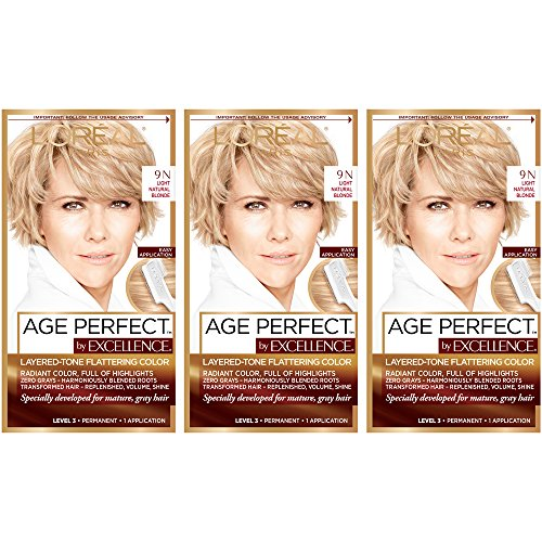 Price comparison product image L'Oréal Paris Age Perfect Permanent Hair Color,  9N Light Natural Blonde, 3 count