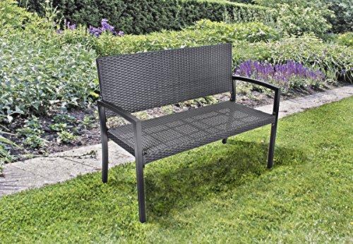Unbekannt Parkbank, Gartenbank, Sitzbank aus Alu/Kunststoffgeflecht in Rattanoptik, DREI Farben (schwarz)