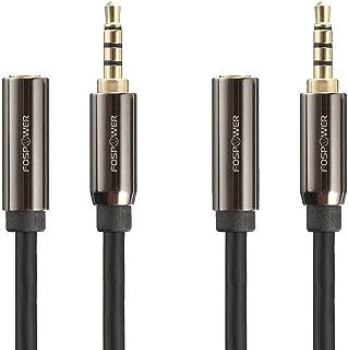 FosPower ステレオオーディオ 延長ケーブル / ヘッドホン延長コード 標準3.5mm (オス-メス) 【4極 ミニプラグ   24k金メッキコネクタ   高音質再生】(ブラック) (0.3m x 2本)