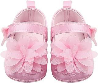 Merssavo Infantile Bébé Fille Doux Bow-Knot Fleur Chaussures Marche Sneaker Chaussures Nouveau-Né Rose 11cm