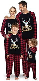JTAISC Matching Family Christmas Pajamas -Red and Deer Xmas PJ's Set