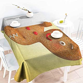 EwaskyOnline Large Rectangular Tablecloth,Gingerbread Man Gingerbread Man Figure Holding a White Page Funny Xmas Character Print,Dinner Picnic Table Cloth Home Decoration,W60X90L, Multicolor