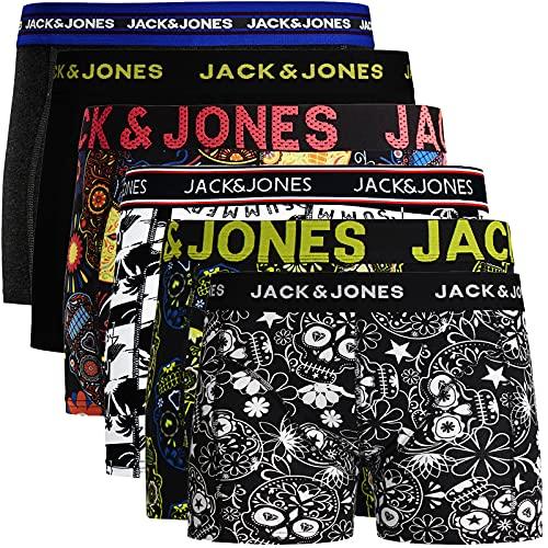 JACK & JONES Boxershorts 6er Pack Herren Trunks Shorts Baumwoll Mix Unterhose (L - 6er, Mehrfarbig Bunt @2)