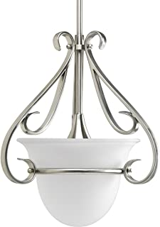 Progress Lighting P5144-09 1-Light Stem-Hung Mini-Pendant with Etched White Bell-Shaped Glass Bowl and Squared Scrolls and Arms, Brushed Nickel