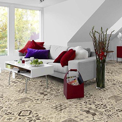 livingfloor® PVC Bodenbelag Shabby Retro Fliesenoptik Mediterran Schwarz/Weiss 2m Breite, Länge variabel Meterware, Größe: 3.00x2.00 m