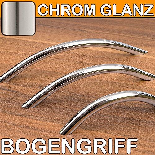 Möbelgriffe Bogengriff CHROM glänzend Küchengriffe BA 128 mm massiv
