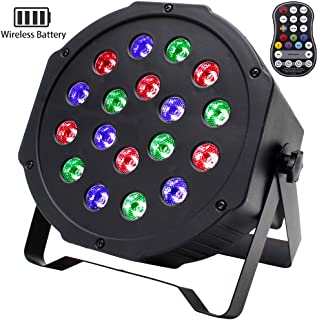 Wireless Stage Lights U`King 18 LED RGB Par Can Light with Battery Powered by Sound Activated and Remote Control Uplights for Wedding DJ Disco Party Up Lighting Live Show