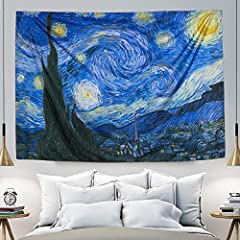 [Vincent Van Gogh Starry Night Tapestry]- Featuring rich colors and artistic image, brighten your living spaces. [Fit for a lot of site &Twin Size(60*82.7 Inch)]- IcosaMro Psychedelic Tapestry is decent for accent walls, ceiling, table, sofa, bedroom...