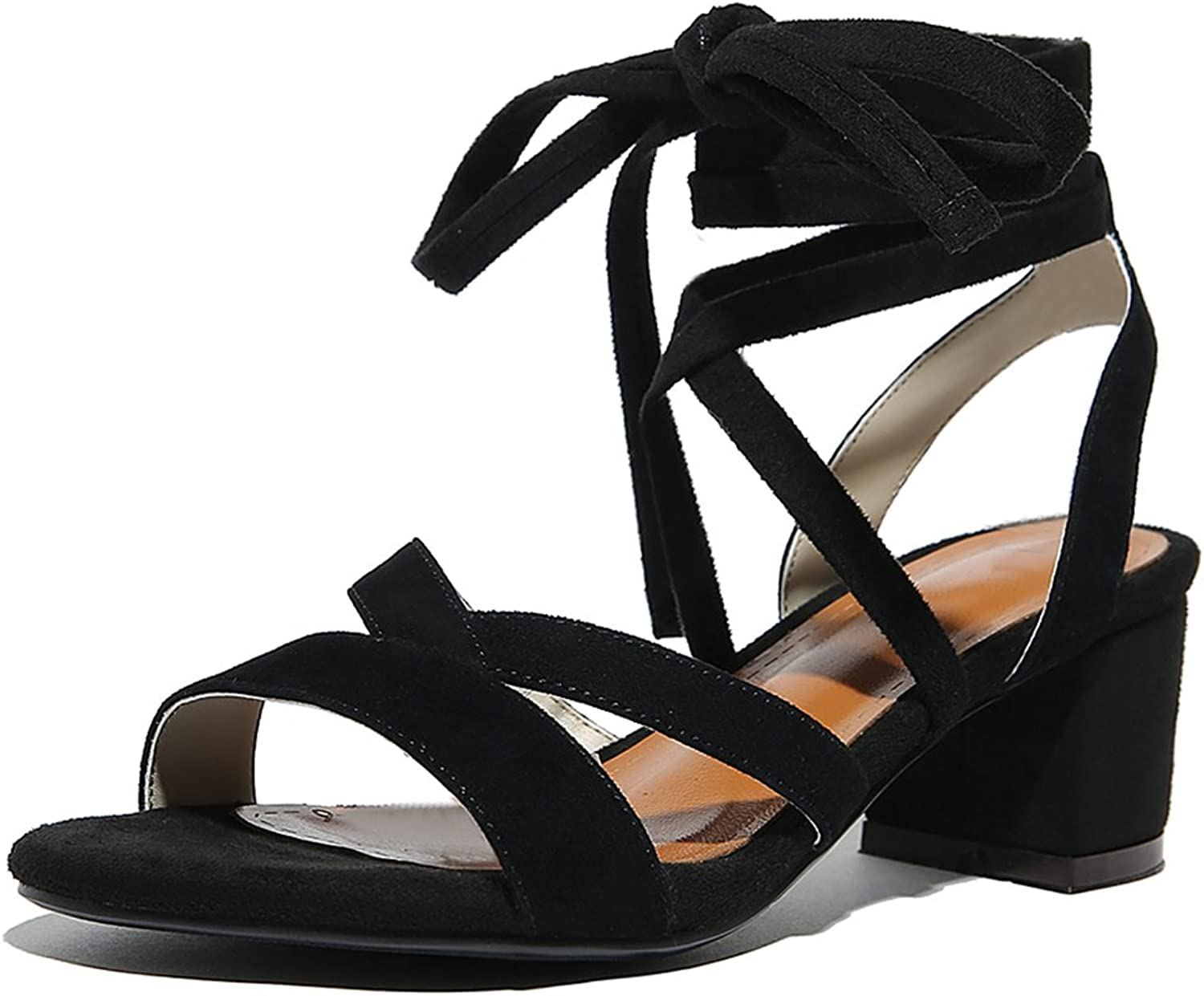 CLIDOU Womens Heeled Sandals Brown and Black