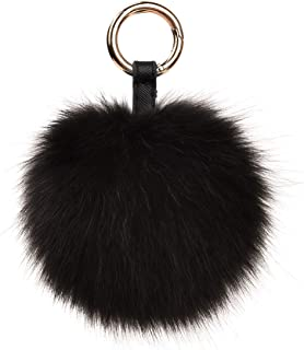 Roniky Large Genuine Fox Fur Pom Pom Keychain Bag Charm Gold Ring Fluffy Fur Ball