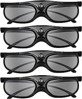 BOBLOV DLP Link 3D Glasses 4 Pack, 144Hz Rechargeable 3D Active Shutter Glasses for DLP 3D Projectors, Compatible with Opt...