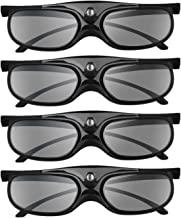 BOBLOV DLP Link 3D Glasses 4 Pack, 144Hz Rechargeable 3D Active Shutter Glasses for DLP..