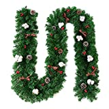 HUVE 2.7M Ghirlanda di Natale Rattan Pigna Artificiale Bacche Rosse Piante di Vite Porta di Natale...