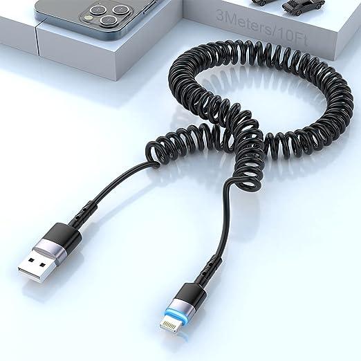 17 opiniones para Cable En Espiral Lightning, [Certificado MFi], Cable Espiral 3M Con Luz LED