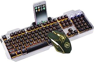 HourenJP Dedicated Media Controls,USB Wired Keyboard with Multiple Color Rainbow LED Backlit Color : Black Lighting Colors Backlit Keys Spill-Resistant and Durable Design