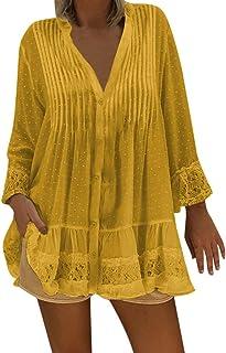 Auifor, túnicas Grandes de Encaje con Cuello en V de Playa Bohemio establecen Retro Hippie de Tapas Sueltas Mujeres de Gran tamaño
