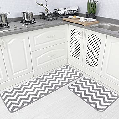 Carvapet 2 Pieces Microfiber Chevron Non-Slip Soft Kitchen Mat Bath Rug Doormat Runner Carpet Set, 17 x48 +17 x24 , Grey