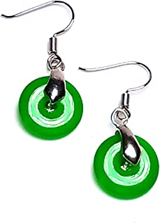 Handmade Women 925 Silver Green Jade Gemstone Circle Drop Earrings