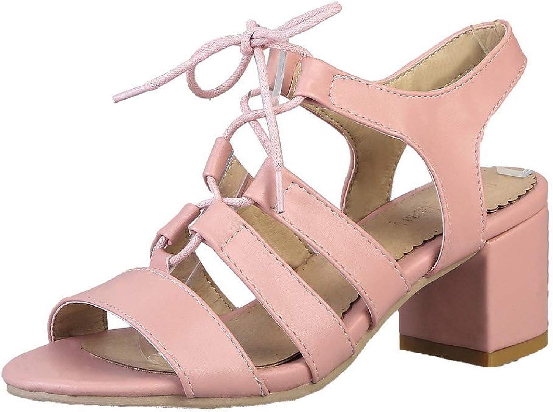 WeenFashion Women's Lace-Up Open-Toe Kitten-Heels Pu Solid Sandals, AMGLX010262