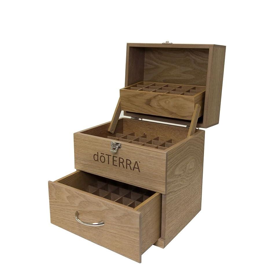 大惨事散文入場料(ドテラ) doTERRA ウッドボックス ライトブラウン 窓付き 木箱 エッセンシャルオイル 精油 整理箱 3段ボックス 75本