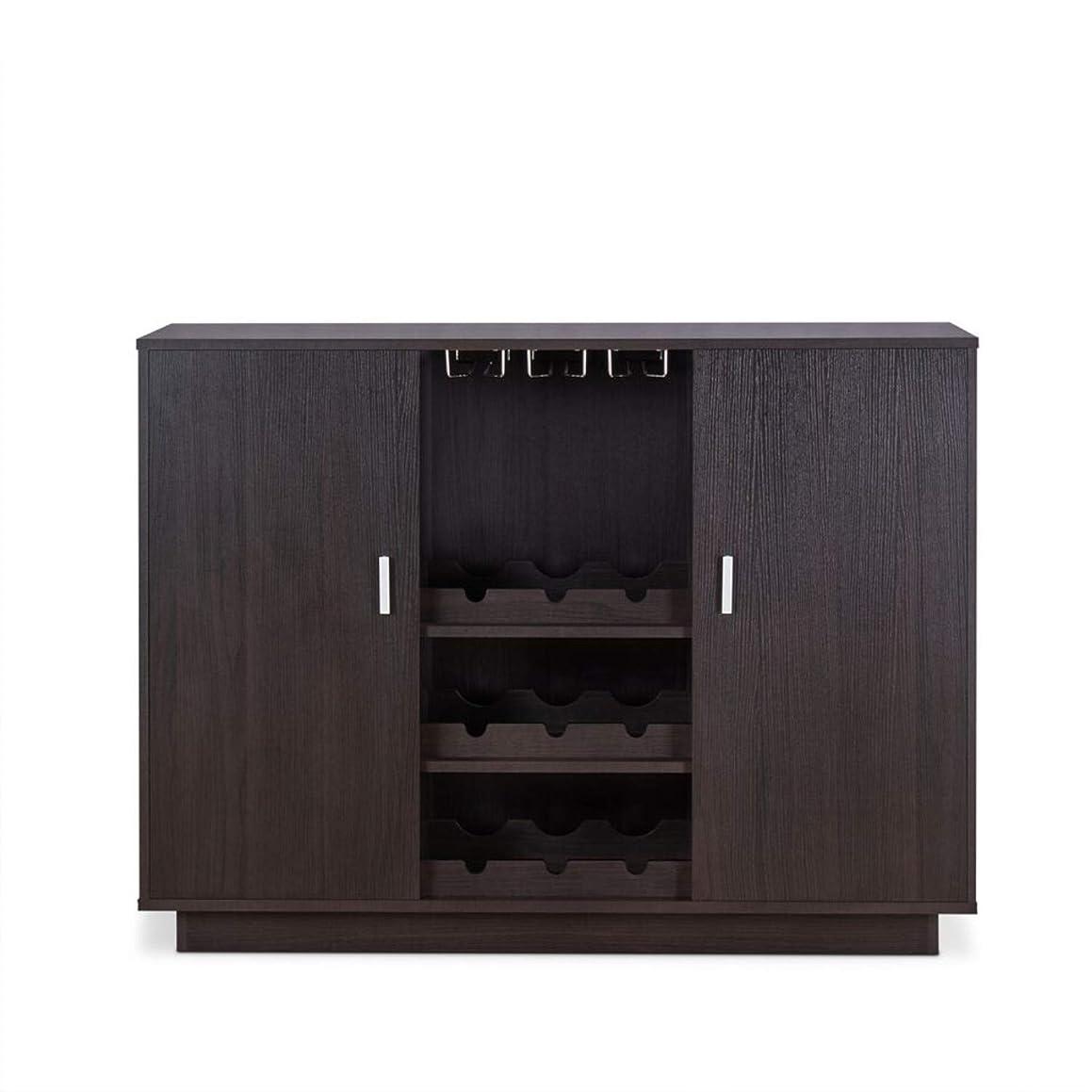 Benjara BM193791 Wooden Server with Two Side Door Storage Cabinets, Brown