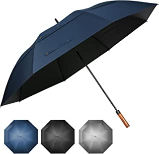 68 inch UV Protection Windproof Golf Umbrella Extra Large with Wooden Handle Automatic Open Double Canopy Vented Sun Rain Umbrellas Waterproof Oversize Stick Umbrellas for Men Women