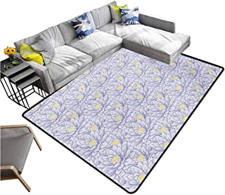 Soft Area Children Baby Playmats Lotus,Hand Drawn Flowers with Contour Petals Blossoming Nature Themed Illustration,Purple Grey Yellow 80