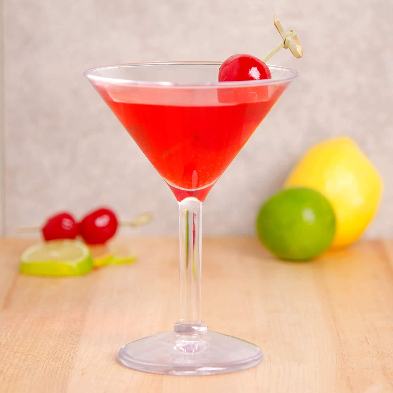 G.E.T. 休日 Heavy-Duty セール特価品 Shatteproof Plastic Ounce Martini 6 Glasses