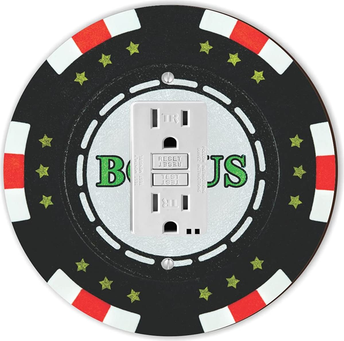 Rikki Knight RND-GFISINGLE-102 Bonus Poker Chip Round Single GFI Light Switch Plate