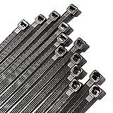 TieRock Black Zip Ties 8 Inch Pack 100 Heavy Duty Industrial Nylon with 50lbs Tensile Strength - Self Locking UV Resistant Cable Ties