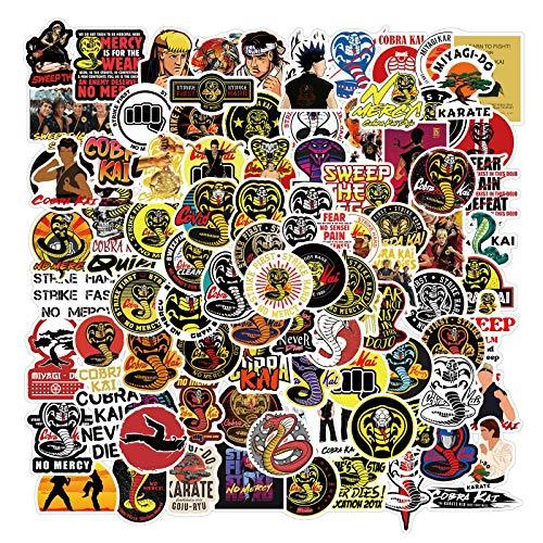 102 Stück Comedy Movie Cobra Kai Aufkleber für Laptop, Wasserflasche, Gepäck, Snowboard, Fahrrad, Skateboard, Aufkleber für Kinder, Teenager, Erwachsene, wasserdicht, ästhetische Aufkleber