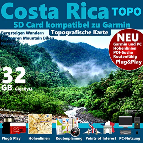 ★Costa Rica Garmin Karte OutdoorTopo GPS Karte microSD Card für Garmin Navi, PC & MAC für Garmin Navigationsgeräte Navigationssoftware ★