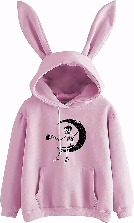 Women's Cute Rabbit Hat Sweatshirt sale Graphic Indefinitely Sleeve Lo Long Hooded