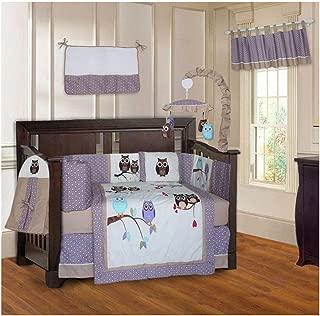 BabyFad Owl Purple 10 Piece Baby Crib Bedding Set
