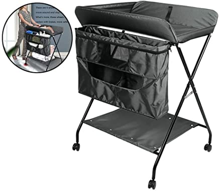 Baby Changing Diaper Table Folding Baby Changing Table Diaper Station Wheels  Portable Newborn Bath Station with Large Storage Space  for Toddler 0-36 Months  Color Black  Size OneSize